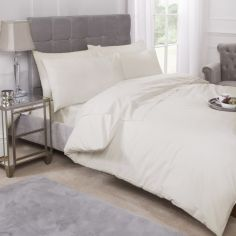 180 Thread Count Percale Plain Duvet Cover Set - Ivory