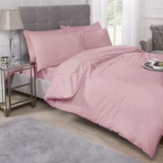 180 Thread Count Percale Plain Duvet Cover Set - Pink