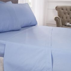 180 Thread Count Percale Plain Fitted Sheet - Blue