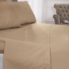 180 Thread Count Percale Plain Fitted Sheet - Coffee