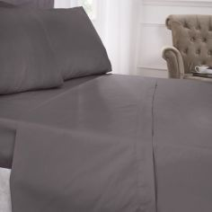 180 Thread Count Percale Plain Fitted Sheet - Grey