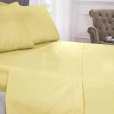 180 Thread Count Percale Plain Fitted Sheet - Lemon Yellow