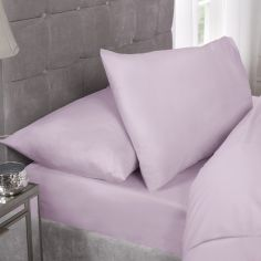 180 Thread Count Percale Plain Fitted Sheet - Lilac