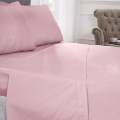 180 Thread Count Percale Plain Flat Sheet - Pink