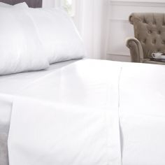 180 Thread Count Percale Plain Fitted Sheet - White