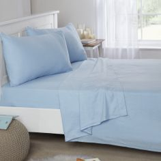 Flannelette Brushed Cotton Fitted Sheet - Blue
