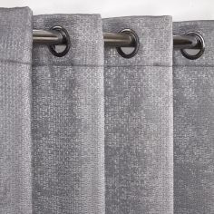 Ambiance Basketweave Thermal Blackout Eyelet Curtains - Charcoal Grey