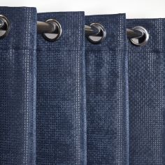 Ambiance Basketweave Thermal Blackout Eyelet Curtains - Navy Blue