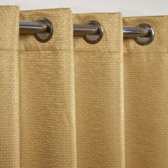 Ambiance Basketweave Thermal Blackout Eyelet Curtains - Ochre Yellow