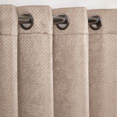 Ambiance Basketweave Thermal Blackout Eyelet Curtains - Taupe