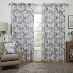 Scandi Floral Fully Lined Eyelet Curtains - Grey
