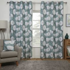 Scandi Floral Fully Lined Eyelet Curtains - Teal Blue