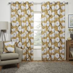 Scandi Floral Fully Lined Eyelet Curtains - Yellow