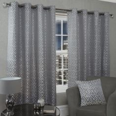 Athens Geometric Fully Lined Eyelet Curtains - Silver Grey