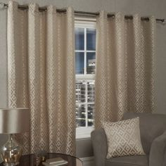 Athens Geometric Fully Lined Eyelet Curtains - Taupe
