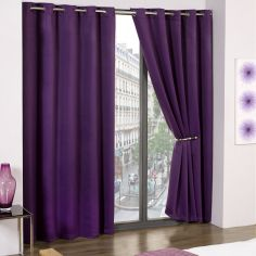 Cali Woven Blackout Eyelet Curtains - Amethyst Purple