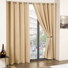 Cali Woven Blackout Eyelet Curtains - Beige