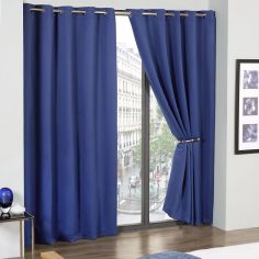 Cali Woven Blackout Eyelet Curtains - Blue