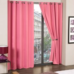 Cali Woven Blackout Eyelet Curtains - Pink