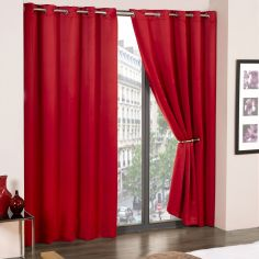 Cali Woven Blackout Eyelet Curtains - Red