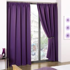 Cali Woven Blackout Tape Top Curtains - Amethyst Purple