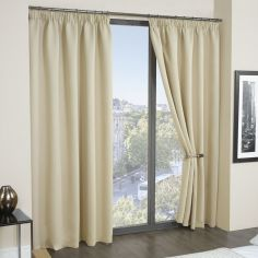 Cali Woven Blackout Tape Top Curtains - Beige