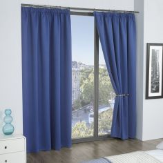Cali Woven Blackout Tape Top Curtains - Blue