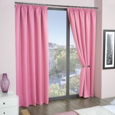 Cali Woven Blackout Tape Top Curtains - Pink