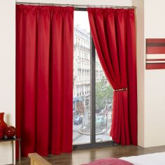 Cali Woven Blackout Tape Top Curtains - Red