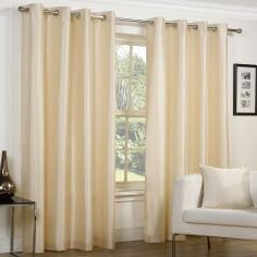Faux Silk Luminous Fully Lined Eyelet Curtains - Cream