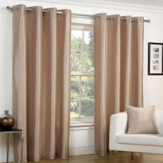 Faux Silk Luminous Fully Lined Eyelet Curtains - Latte