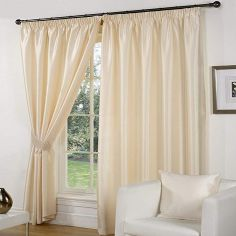 Faux Silk Luminous Fully Lined Tape Top Curtains - Cream
