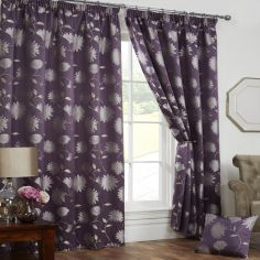 Freya Floral Lined Tape Top Curtains - Aubergine