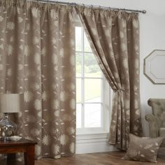 Freya Floral Lined Tape Top Curtains - Latte