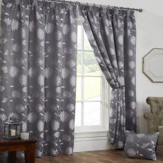 Freya Floral Lined Tape Top Curtains - Silver Grey