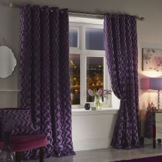Katie Rippled Velvet Fully Lined Eyelet Curtains - Heather