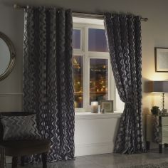 Katie Rippled Velvet Fully Lined Eyelet Curtains - Silver Grey