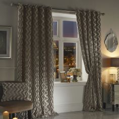 Katie Rippled Velvet Fully Lined Eyelet Curtains - Taupe