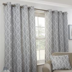 Kew Leaf Design Fully Lined Eyelet Curtains - Silver Grey