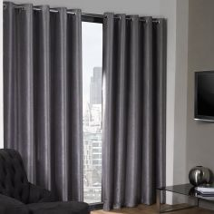 Logan Textured Woven Blackout Eyelet Curtains - Silver Grey