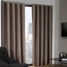 Logan Textured Woven Blackout Eyelet Curtains - Taupe