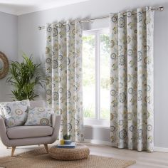 Charleston Floral Eyelet Curtains - Teal Blue