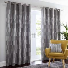 Detroit Striped Fully Lined Eyelet Curtains - Charcoal