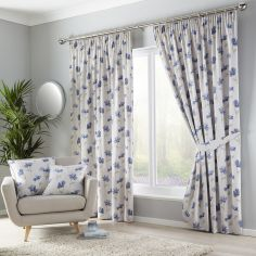Westbury Floral Tape Top Curtains - Blue