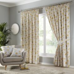 Westbury Floral Tape Top Curtains - Ochre Yellow