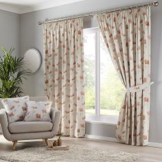 Westbury Floral Tape Top Curtains - Terracotta