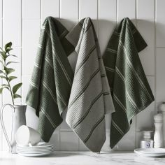Pack of 3 Cotton Kitchen Tea Towels - Fern Green
