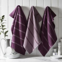 Pack of 3 Cotton Kitchen Tea Towels - Berry Purple