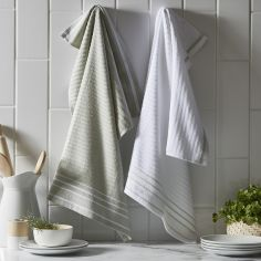Pack of 2 Cotton Kitchen Tea Towels - Sage