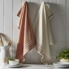 Pack of 2 Cotton Kitchen Tea Towels - Terracotta